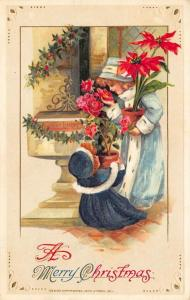 Merry Christmas Girls Potted Plants John Winsch Embossed Postcard