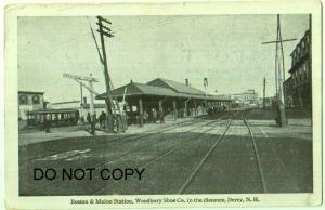 Boston & Maine RR Station, Woodbury Shoe Co. Derry NH