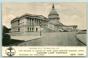 New York City~Anchor Lamp Company Lights Washington DC Capitol~1906 Adv Postcard