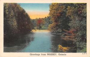 Massey Ontario Canada Greetings Scenic View Linen Antique Postcard J76622