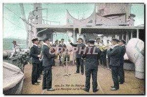 Old Postcard Army Life Marine Music on deck