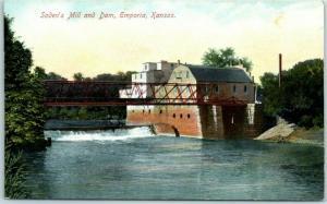 Emporia, Kansas Postcard Soden's Mill and Dam w/ Bridge - c1910s Unused