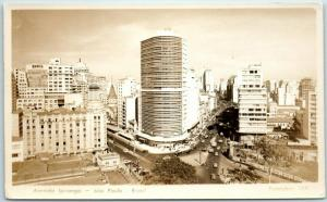 Sao Paulo, Brazil RPPC Photo Postcard Avenida Ipiranga Bird's-Eye View c1940s