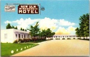 1950s New Ulm, Minnesota Postcard NEW ULM MOTEL Highway 15 Roadside Linen Unused