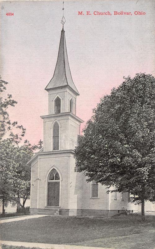 E77/ Bolivar Ohio Postcard Tuscarawas County c1910 M.E. Church Building