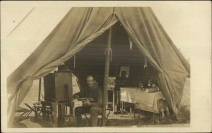Camping Tent Military? Nice Details - Man at Desk c1910 Real Photo Postcard
