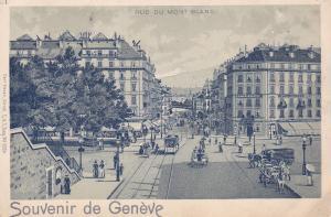 Souvendir de Geneve , Switzerland , 1890s ; Rue du Mont Blanc