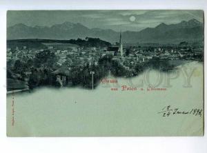 235340 GERMANY Gruss aus PRIEN a Chiemsee 1898 year MOON LIGHT