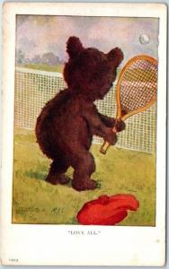 1910s Artist-Signed M.D.S. Postcard Teddy Bear Playing Tennis LOVE ALL UNUSED