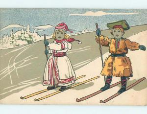 1906 foreign skiing EUROPEAN GIRL AND BOY BOTH USING SKIS HL7397