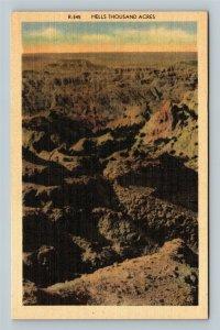 Black Hills SD, Hells Thousand Acres, South Dakota Linen Postcard