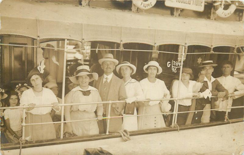 Croatia Rijeka Fiume ship tourists snapshot photo dated 1914 Abbazia Opatija