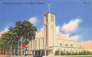 Fort Myers Florida~Methodist Church~Italianate Tower 1940s