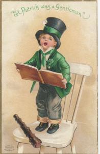 ST. PATRICK'S DAY , 1910 ; Boy singing ; CLAPSADDLE