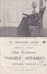 Family Affairs Lilian Braithwaite Ambassadors Theatre Programme