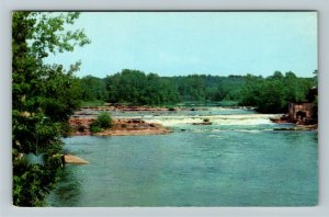 Burlington VT- Vermont, Winooski River Dam, River Trees Scenery, Chrome Postcard