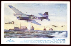 dc1756 - AIR FORCE Postcard 1940s Bristol BEAUFORD Torpedo Bomber by Salmon