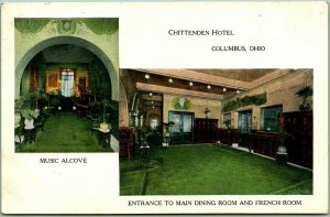 Columbus, Ohio Postcard CHITTENDEN HOTEL Music Alcove Dining Room French Room