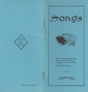 WINNIPEG , Manitoba , Canada , 1910s ; Songs Booklet Eatons Store