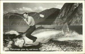 Lake Pend Oreille ID Fishing Exaggeration c1940 Real Photo Postcard KAMPLOOPS