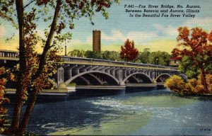 Illinois North Aurora Fox River Bridge Curteich