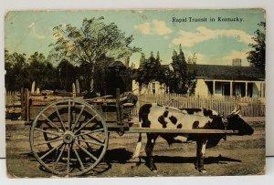 Hinton Kentucky, Rapid Transit Man on Cart Colored Photo 1914 Postcard C15