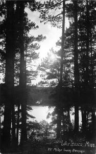 Bemidji-Lake Itasca State Park MN @ Sunrise, Through the Trees RPPC c1931