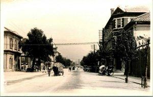Vtg 1910-30 AZO RPPC Nakamachi Before Conversion Kobe Japan Street View