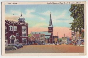 P1167 linen unused postcard hospital sq many old cars st scene lewiston maine