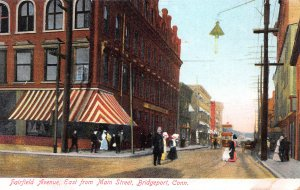 Fairfield Ave. East from Main St., Bridgeport, CT, Early Postcard, Unused