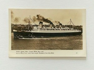 RPPC RMS Queen Mary Cunard White Star Line Cruise Ship Postcard Tug Boats