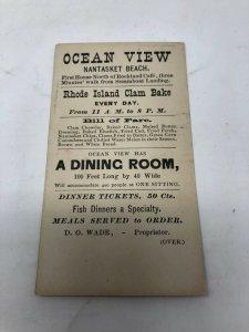 Ocean View restaurant Nantasket Beach MA Clam Bake Victorian Trade Card