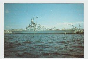 USS Massachusetts BB 59 Big Mamie Warship postcard