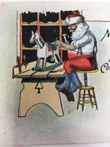 Santa Claus Working in His Workshop Christmas Postcard Xmas