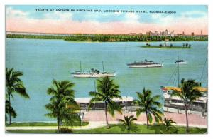 1938 Yachts at Anchor in Biscayne Bay, looking toward Miami, FL Postcard *5N17