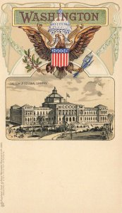 Washington DC The Congressional Library Embossed Raphael Tuck Postcard