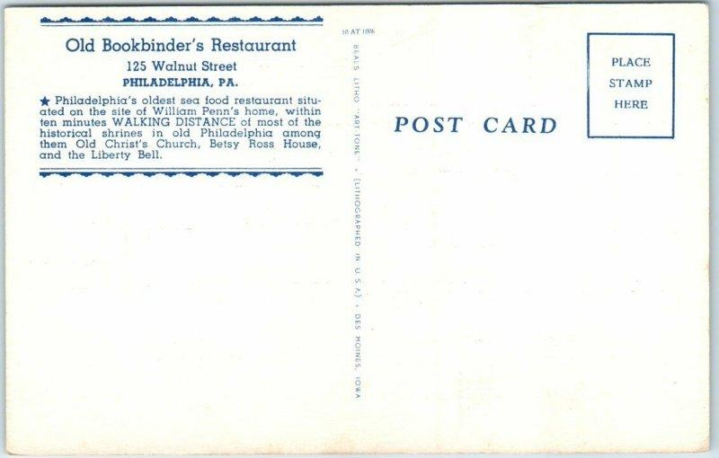 Philadelphia, PA Postcard Old Bookbinder's Restaurant Fireplace Linen c1940s