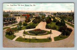 Kansas City MO, Bird's-Eye View Paseo from 17th Street Vintage Missouri Postcard