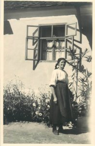 Postcard countryside woman typical outfit