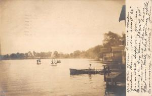 Bath New York Lake Boating Real Photo Antique Postcard K20234