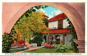 Florida St Augustine Patio Showing Wishing Well Oldest House In The U S Curteich