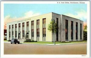 Hutchinson, Kansas Postcard U.S. Post Office Street View Curteich Linen Unused