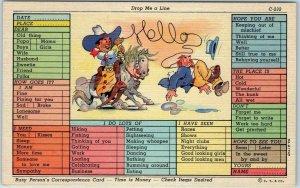 1940s Comic Linen Postcard Drop Me a Line Curteich FILL-IN COMICS C-232 UNUSED