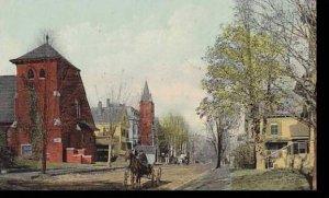 Massachusetts Amesbury Main Street Showing Universalist & Catholic Churches