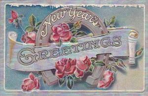 New Year Greetings Silver Horseshoe and Red Roses 1913