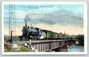 Aurora Illinois~CB&Q Steam Locomotive & Loaded Cars On Railroad Bridge~1920s