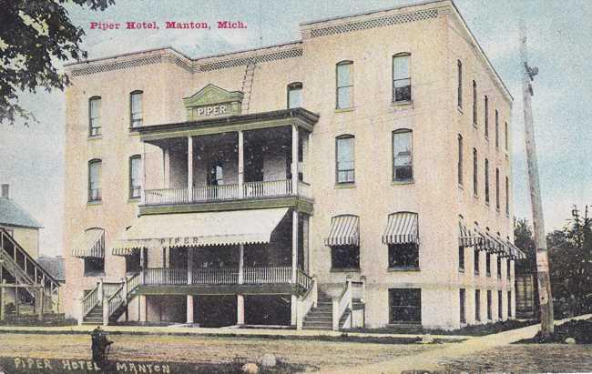 Piper Hotel Manton Mi Michigan Pm 1912