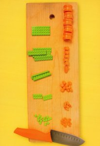 Garden Kitchen Knife Vegetables Peas Lego Slicing Board Toy Display Postcard