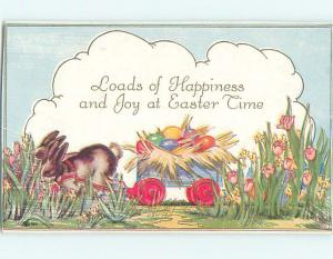 Divided-Back Easter BUNNY RABBITS PULLING WAGON LOADED WITH EGGS o6145