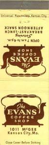 Kansas City, Missouri/MO Matchcover, The Evans Coffee Shop